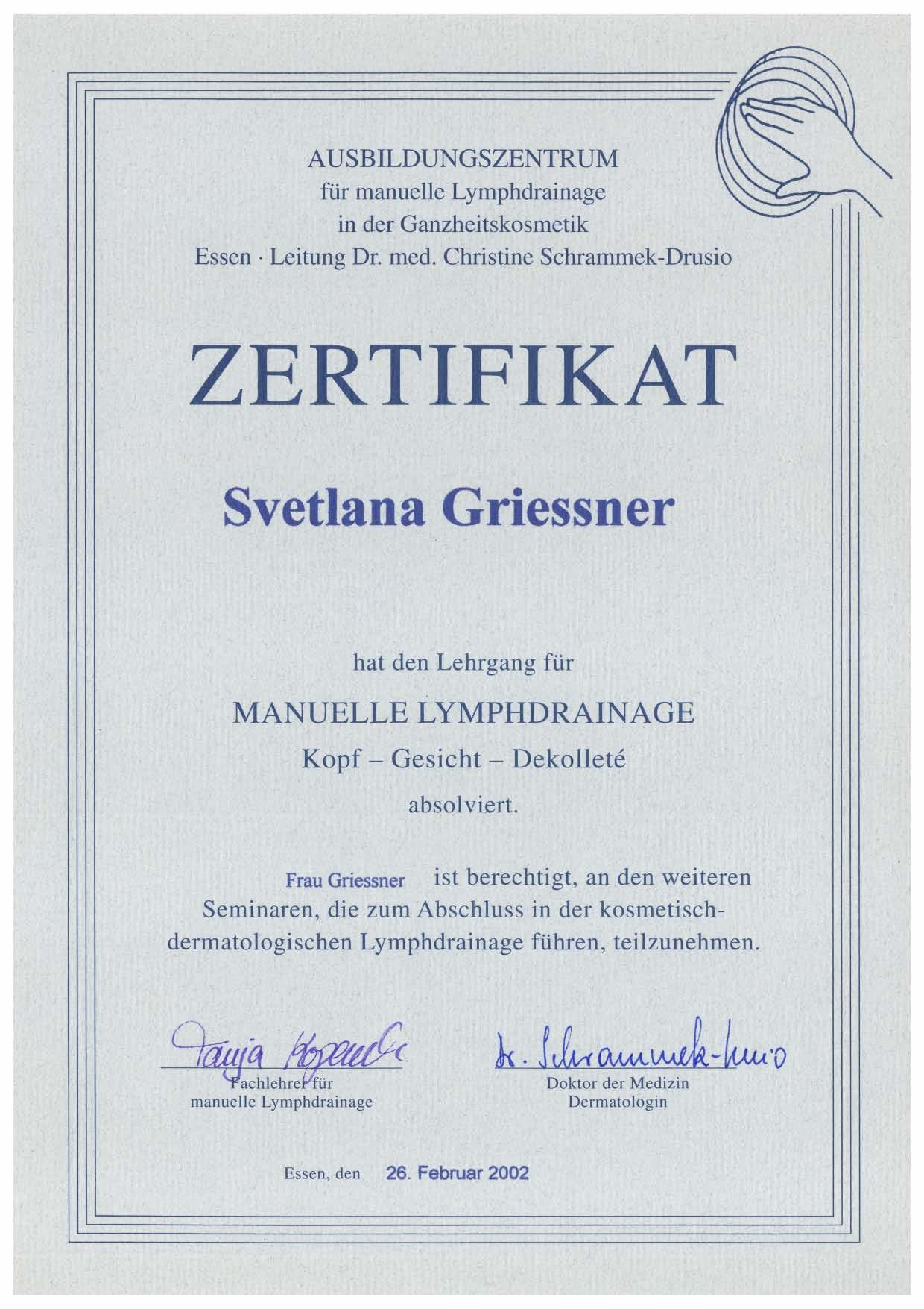 Zertifikat für den Lehrgang der Manuellen Lymphdrainage