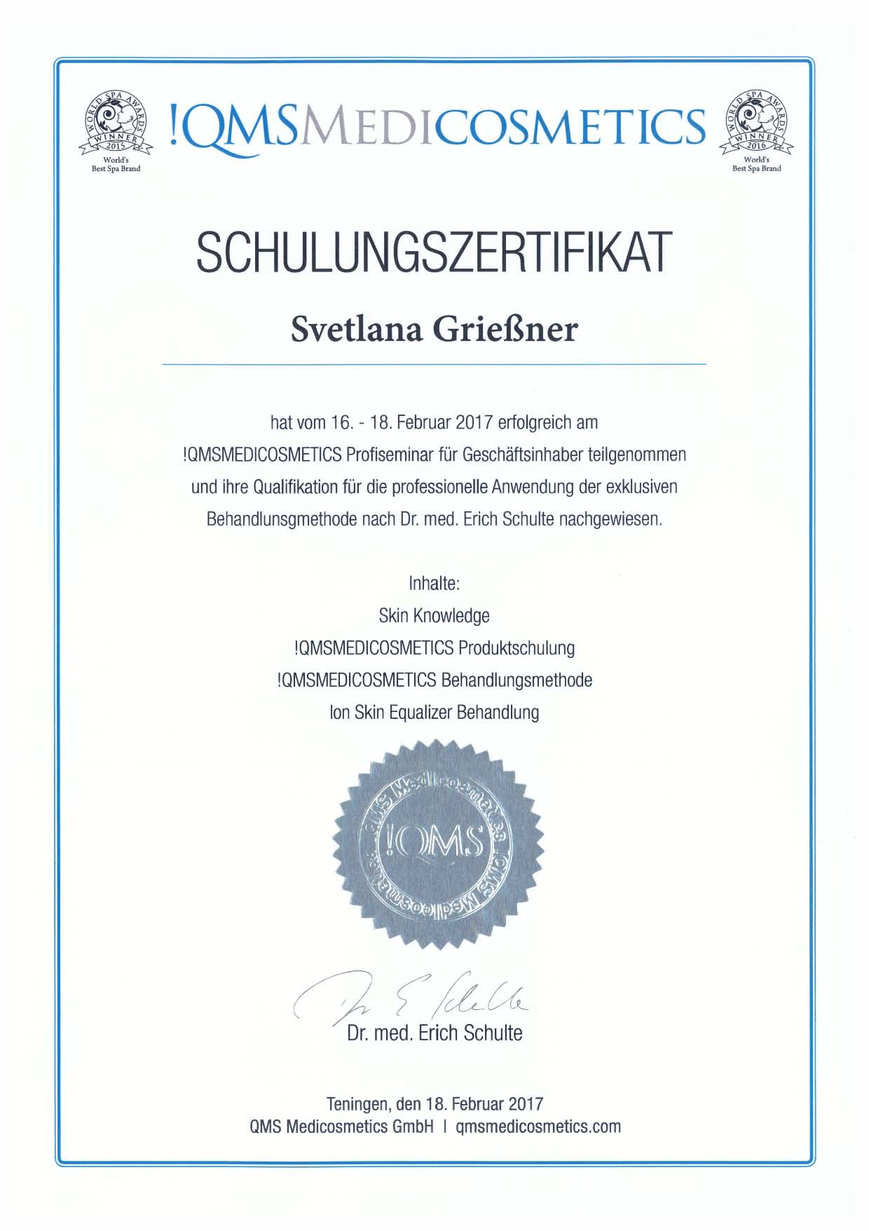 QMS MEDICOSMETICS Schulungszertifikat