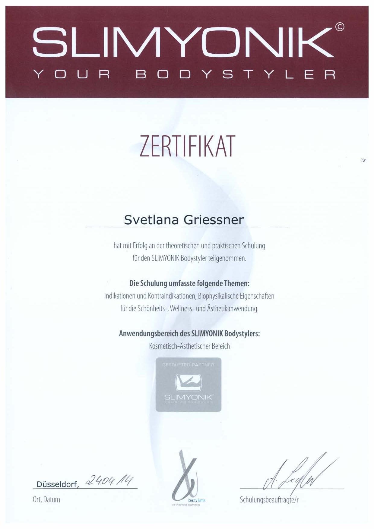 SLIMYONIK Zertifikat