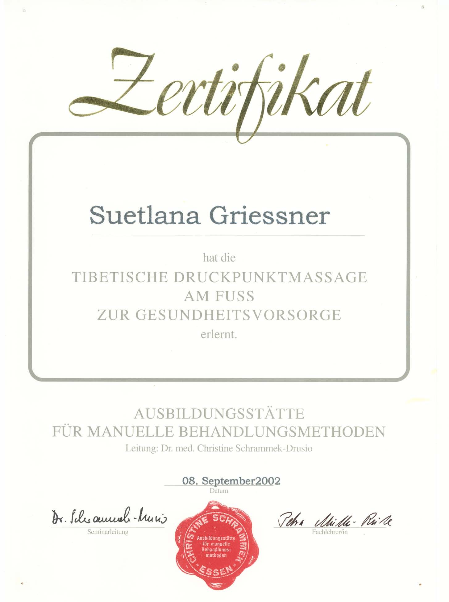 Zertifikat von Suetlana Griessner